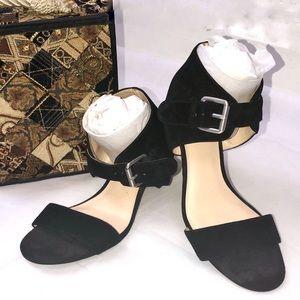Nine West Black Ankle Strap Block Heel Sandals 8M